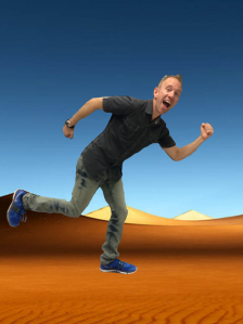 David running in the desert